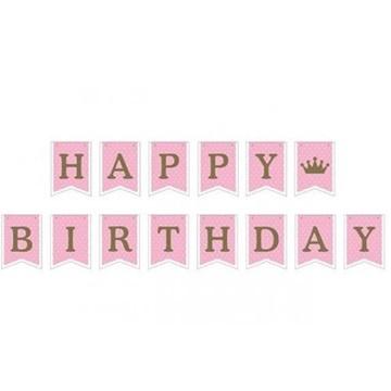 Obrázek Party nápis vlaječky růžový Happy Birthday 180 cm