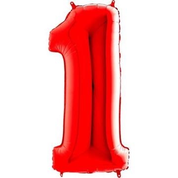 Obrázek Foliová číslice - červená 1