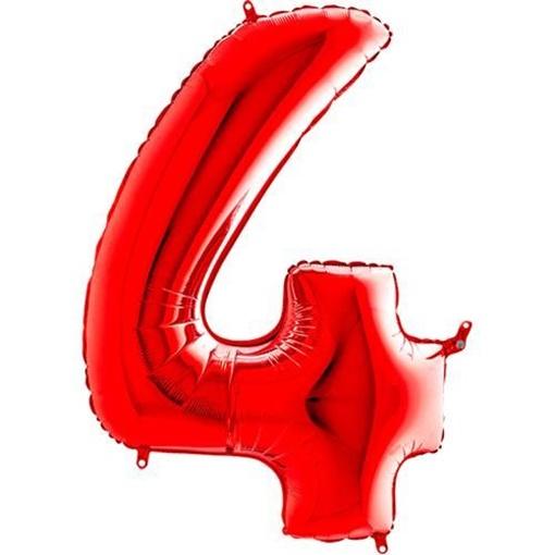 Obrázek z Foliová číslice - červená 4