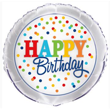 Obrázek Foliový balonek  s barevnými puntíky Happy Birthday 46 cm