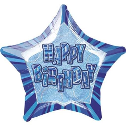 Obrázek z Foliový balonek hvězda Happy Birthday - modrá 51 cm