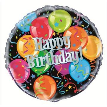 Obrázek Foliový balonek černý s balonky Happy Birthday 46 cm
