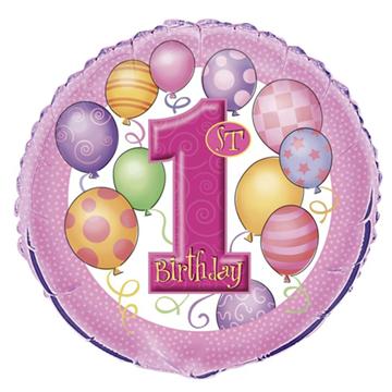 Obrázek Foliový balonek 1st Birthday růžový 46 cm