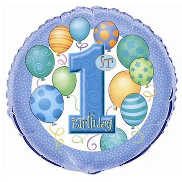 Obrázek Foliový balonek 1st Birthday modrý 46 cm