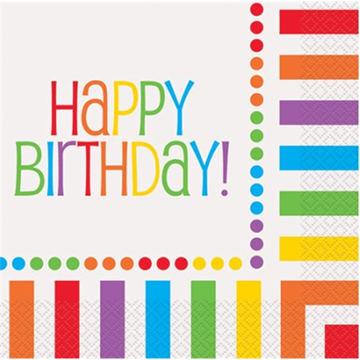 Obrázek Papírové party ubrousky barevné Happy Birthday 16 ks