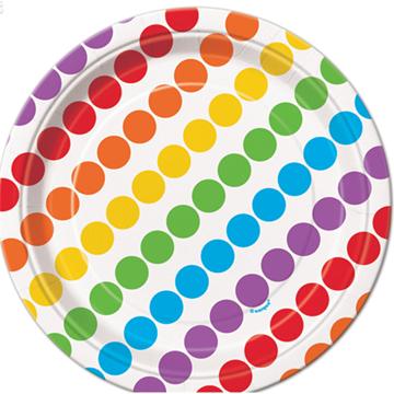 Obrázek Papírové talířky s barevnými puntíky 17 cm