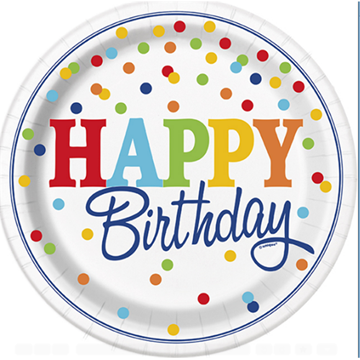 Obrázek Papírové talíře s barevnými puntíky Happy Birthday 22 cm