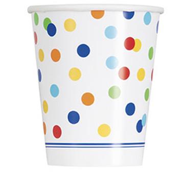 Obrázek Papírové kelímky barevné puntíky 8 ks