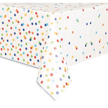 Obrázek Plastový party ubrus barevné puntíky 137 x 213 cm