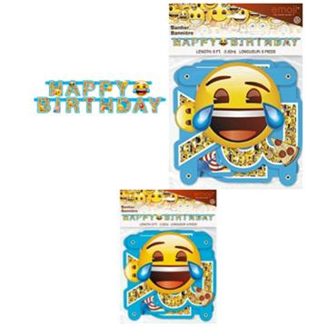 Obrázek Party nápis Emoji Happy Birthday 182 cm