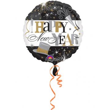 Obrázek Foliový balonek Happy New Year černobílý 45 cm