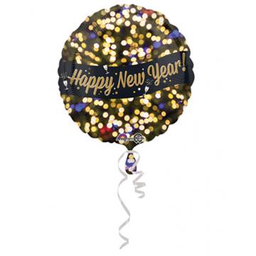 Obrázek Foliový balonek Happy New Year černozlatý 43 cm