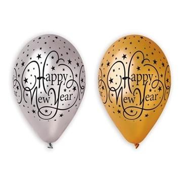 Obrázek Latexové balonky Happy New Year metalické 6 ks