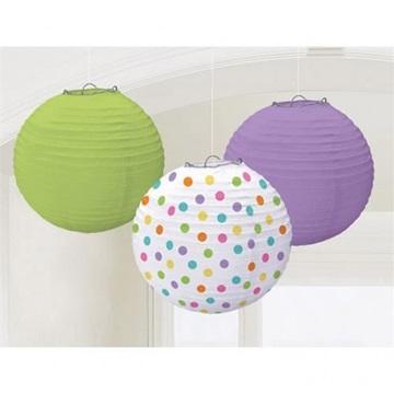 Obrázek Papírové lampiony puntíky a barvy 3ks