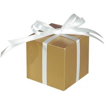Obrázek Dárková svatební krabička zlatá - 1 ks