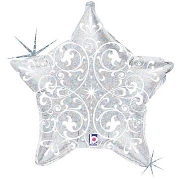 Obrázek Foliový balonek stříbrná hvězda s ornamenty 52 cm