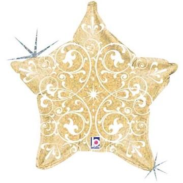 Obrázek Foliový balonek zlatá hvězda s ornamenty 52 cm