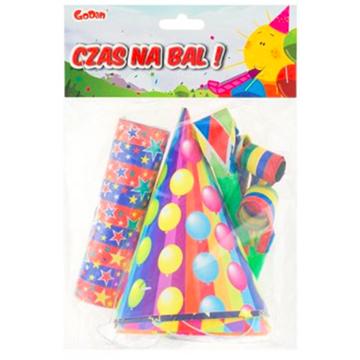 Obrázek Party mix doplňků - čepičky balonky frkačky serpentiny -13 ks