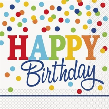 Obrázek Papírové party ubrousky barevné puntíky Happy Birthday 16 ks