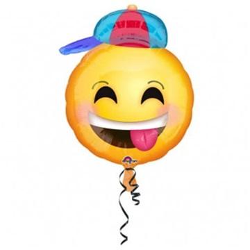 Obrázek Foliový balonek smajlík - vysmátý s čepicí 43 x 50 cm