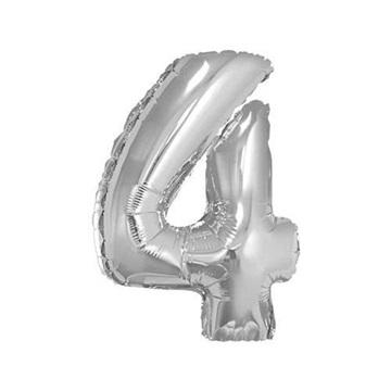 Obrázek Foliová číslice - stříbrná 4 - 35 cm