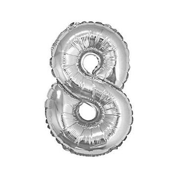 Obrázek Foliová číslice - stříbrná 8 - 35 cm
