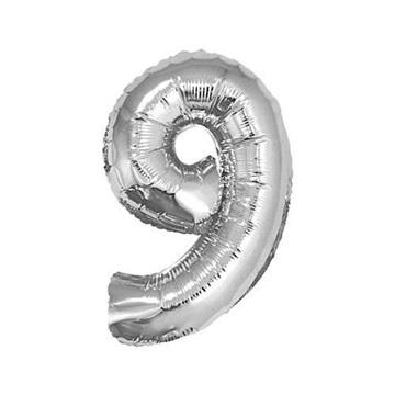 Obrázek Foliová číslice - stříbrná 9 - 35 cm