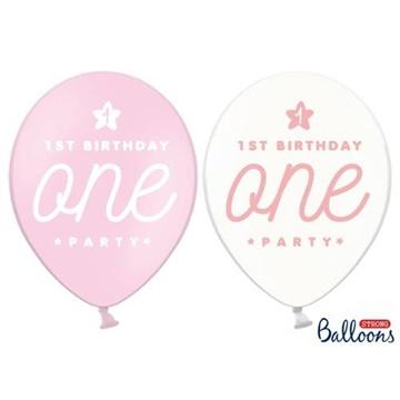 Obrázek Latexový balonek 1st birthday one růžový 30 cm