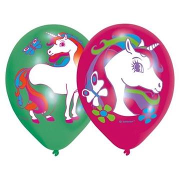 Obrázek Latexové balonky Jednorožec - barevný potisk 6 ks