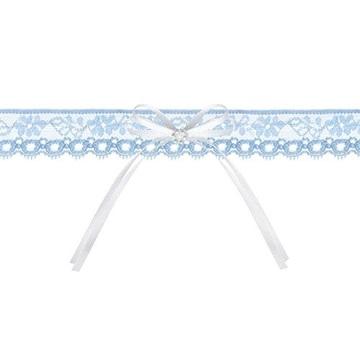 Obrázek Svatební podvazek modrý s bílou mašlí