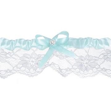 Obrázek Svatební podvazek s modrým okrajem