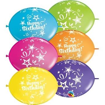 Obrázek Spojovací balonek Happy Birthday 30 cm - 10 ks