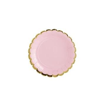 Obrázek Talířky se zlatým okrajem růžové 6 ks