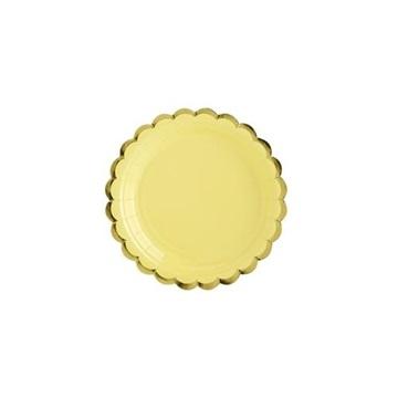 Obrázek Talířky se zlatým okrajem žluté 6 ks