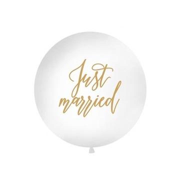 """Obrázek Obří nafukovací balon bílý """"Just married"""" - 1 m"""