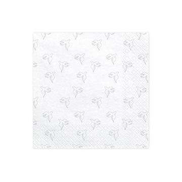 Obrázek Papírové party ubrousky bílé se stříbrnými holubicemi 20 ks