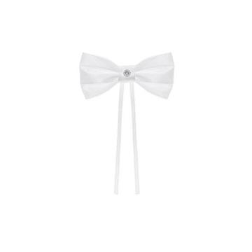 Obrázek Dekorační mašle bílá se šperkem 4 ks