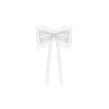 Obrázek Dekorační mašle bílá s krajkou 4 ks