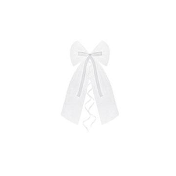Obrázek Dekorační mašle bílá tylová se stuhou 2 ks