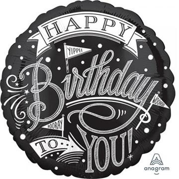 Obrázek Foliový balonek Retro party Happy Birthday 43 cm