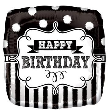 Obrázek Foliový balonek čtverec Retro party Happy Birthday 43 cm