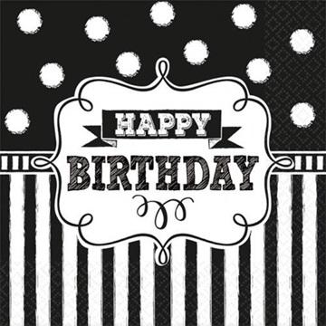 Obrázek Papírové party ubrousky Retro party Happy Birthday 20 ks
