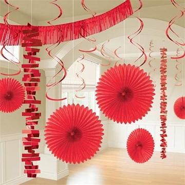 Obrázek Dekorační party sada červená 18 ks