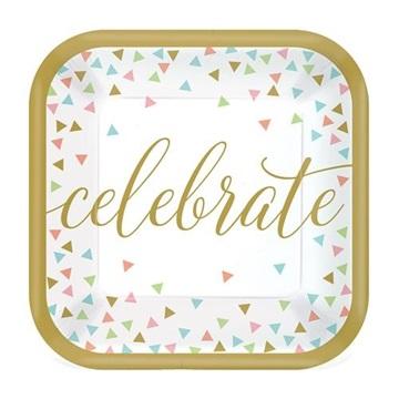 Obrázek Papírové talířky Confetti Fun Celebrate 18 cm - 18 ks