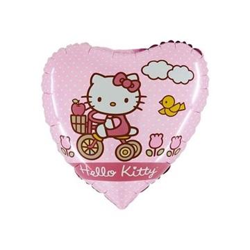 Obrázek Foliový balonek srdce Hello Kitty na kole 45 cm