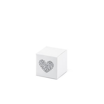 Obrázek Dárkové svatební krabičky bílé se srdíčkem - 10 ks