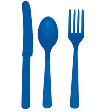 Obrázek Plastové příbory modré 24 ks