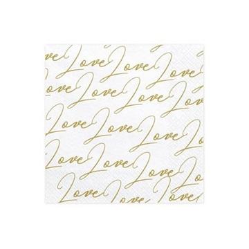 Obrázek Papírové party ubrousky bílé s potiskem Love 20 ks