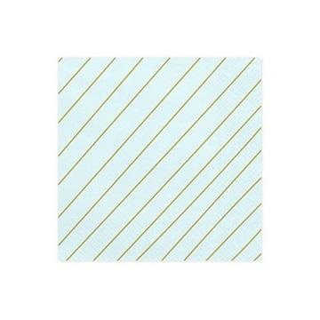 Obrázek Papírové party ubrousky modré se zlatými proužky 20 ks
