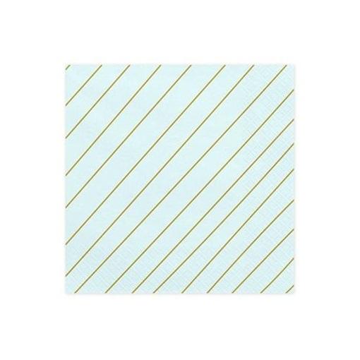 Obrázek z Papírové party ubrousky modré se zlatými proužky 20 ks